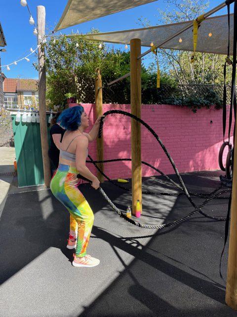 Battle Ropes in outdoor fitness garden