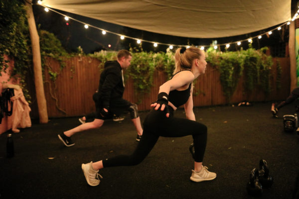 Group kettlebell cardio and circuit training