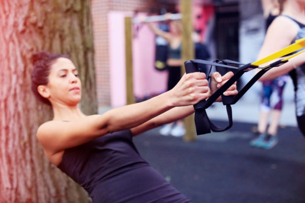 TRX, battle ropes and boxing in our gym garden