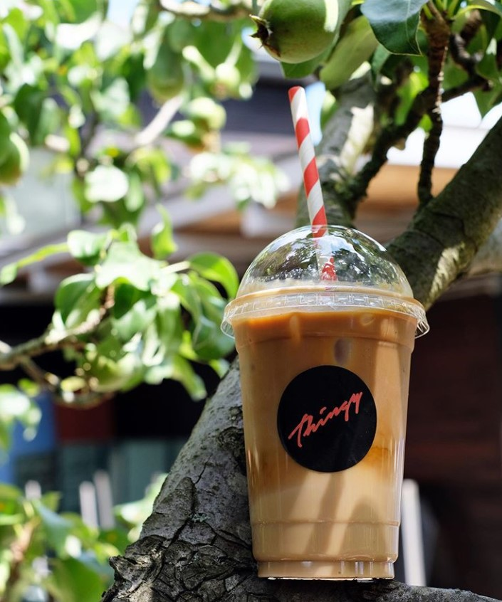 Thing coffee next door to Strong + Bendy